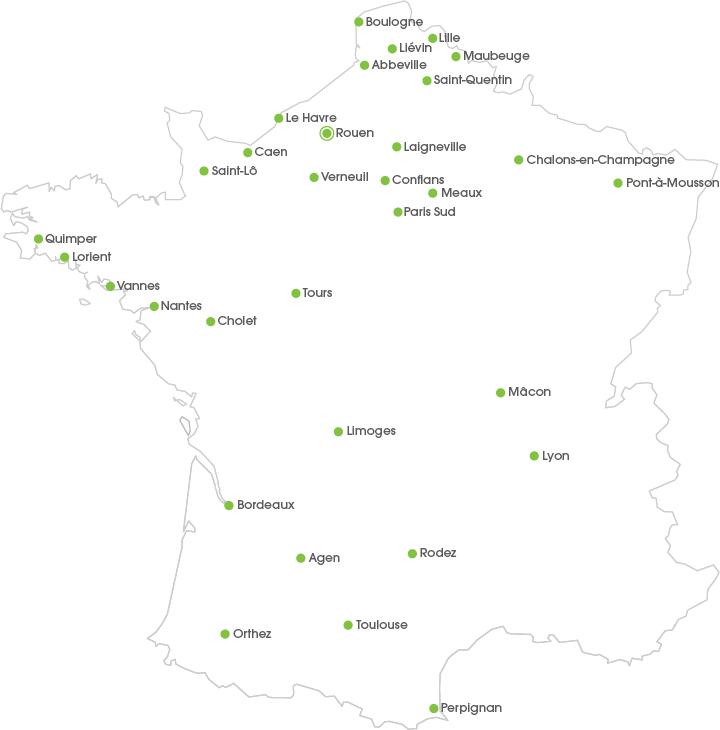 Carte de localisation de l'entreprise sélectionnée